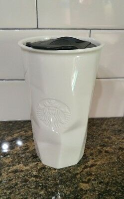 RARE Starbucks Faceted WHITE & BLACK Ceramic Tumbler Travel Cup 10 Oz 2013