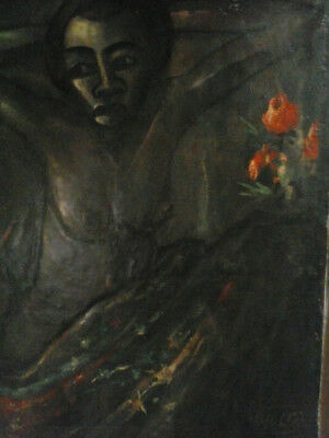 A vintage African oil painting done 1968 hand painted impressionist style.Signed