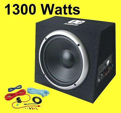 """12"""" Bass box car audio sub woofer built in amp active amplified 1300 watts Loud"""
