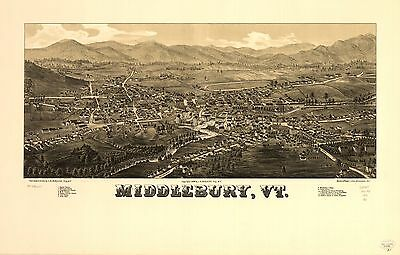 12x18 inch Reprint of American Cities Towns States Map Middlebury Vt