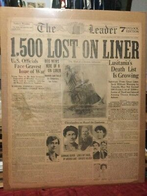 Lusitania Sinks - May 8, 1915 - Cleveland Leader Newspaper