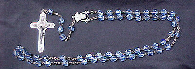 Vintage Set Of Facet Crystal Blue Glass Italy Cross Medal Religious Rosary Beads