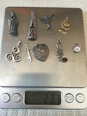 925 Sterling Silver WEARING or SCRAP Jewelry LOT. ANTIQUE CHARMS  For BRACELET