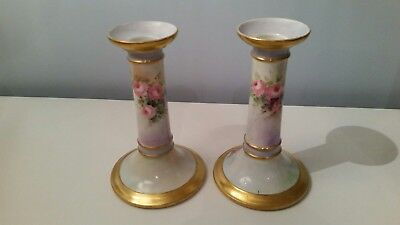 Antique Limoges Porcelain Hand Painted Gilded Candlesticks
