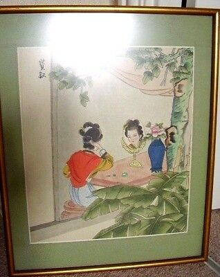 Japanese Signed Silk Painting Geisha -Girl picture Framed,35 cm X 43 cm,1