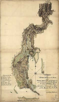 12x18 inch Reprint of American Military Map Frogs Neck