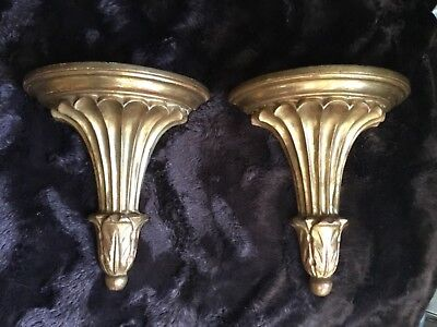 Vintage/Antique Pair of Carved Water-Gilded Gold Leaf Italian Sconces