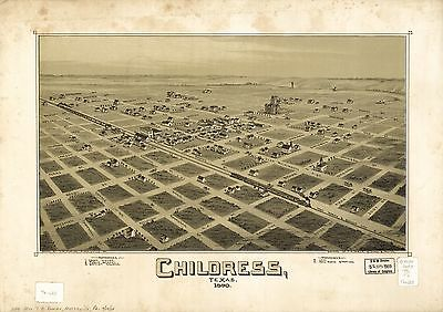 12x18 inch Reprint of American Cities Towns States Map Childress Texas