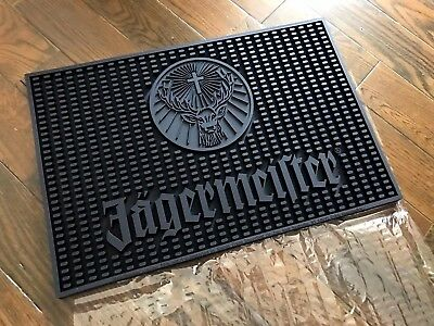 NEW Jagermeister Heavy All Black Rubber Counter Bar Beer Drink Spill Mat 18x12