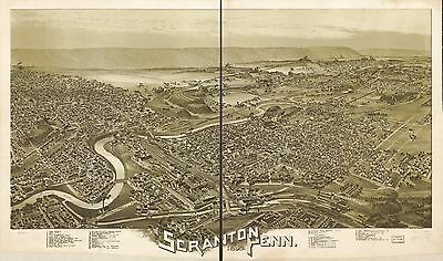 12x18 inch Reprint of American Cities Towns States Map Scranton Pennsylvania