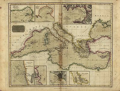 12x18 inch Reprint of Shipping Coastal And Seas Map Mediterranean Sea