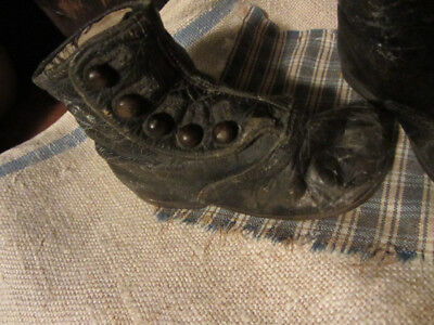 Old Early Antique Primitive Very Grungy High Top Button Shoes....leather
