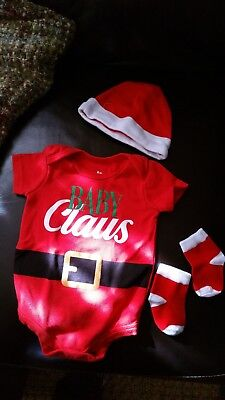 Baby Christmas Outfit 3pc Boys/Girls Size 6 months Baby Claus