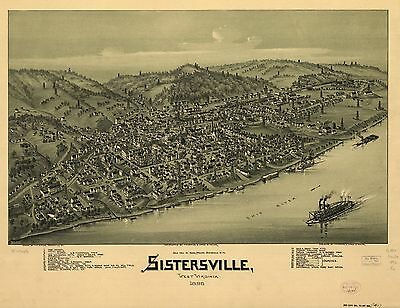 12x18 inch Reprint of America Cities Towns States Map Sistersville West Virginia