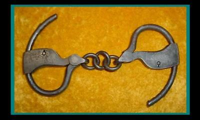 OLD PAIR of AUTHENTIC ANTIQUE 1800s HEAVY DUTY TOWERS Marked HANDCUFFS /MANACLES
