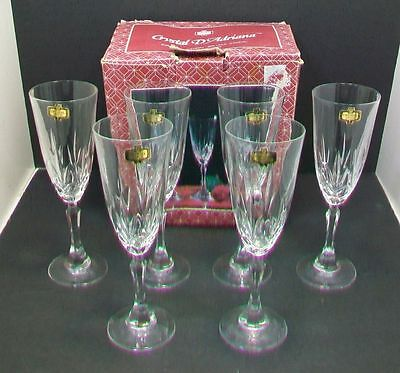 "Lot/6 Fluted Champagne Glasses ""Princess"" by Crystal d' Adriana Yugoslavia"