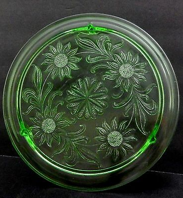 "Jeannette Glass Co Green Sunflower 3-footed 10"" Cake Plate Vintage Green Glass"
