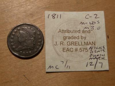 1811 Classic Head Half Cent, With Grellman Card, With Issues, Fine Details,#7622