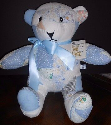 "Ooak Artist Made Teddy Bear Antique Quilt Signed Lillian Hahn Coa Tag 16.5"" Blue"