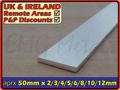 "Aluminium Flat Bar (strip,edging,section,profile,alloy,ally) | 50mm / 2"" width"