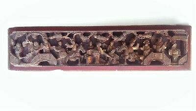 Antique Hand Carved Chinese Lacquer Gilt Wood Figures Sculpture Panel 19thC 潮州木雕