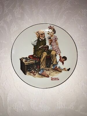 Norman Rockwell The Cobbler Collectors Edition Plate Rare Japan 1982