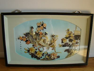 "3 Concubine hand carved Mother of Pearl Shell 30"" Shadow Box Dalian China 1970's"