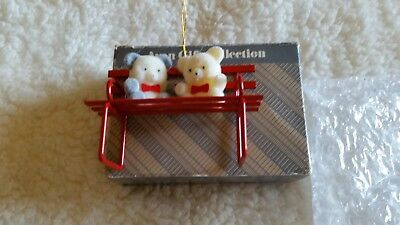 Christmas Avon Teddy Bear Ornament Collection~FLOCKED~TEDDIES ON A BENCH