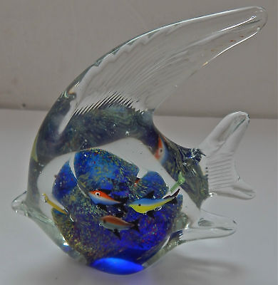 "VINTAGE MURANO Glass Aquarium Paperweight with 6 Fish Inside Italy 5-3/4"" tall"