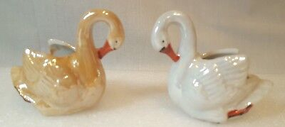 2 Vintage Lusterware Swan Salt Cellar or Trinket Dish - Japan