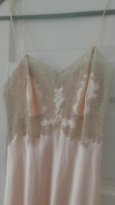 EXQUISITE SILK SLIP LINGERIE DRESS FRENCH ALENCON LACE TRIMMED HAND SEWN VTG 30s