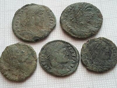 Lot of 5 Roman Bronze coins-Follis, uncleaned,Constantine Dynasty.AE2,AE3