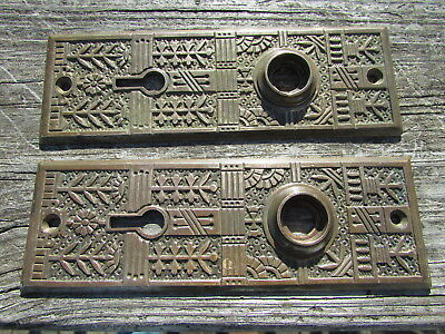 BEAUTIFUL Victorian ART DECO NOUVEAU Brass DOOR KNOB ESCUTCHEON Set EASTLAKE !!!