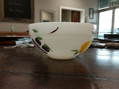Vintage Fire King Milk Glass Mixing Bowl W Hand Painted Fruit