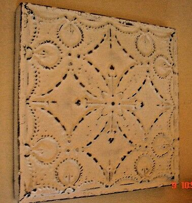 Vintage Solid Metal Ceiling Tin Wall Plaque Shabby Chic Farmhouse White Distres