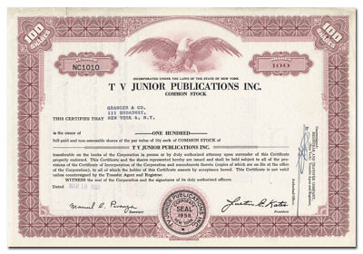 TV Junior Publications Inc. Stock Certificate (TV Guide for Kids)