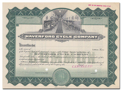 Haverford Cycle Company Specimen Stock Certificate (Black Beauty Bicycles)