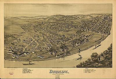 12x18 inch Reprint of American Cities Towns States Map Duquesne Pennsylvania