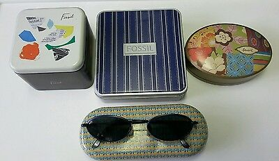 1 FOSSIL Sunwear Shades Blue TAQS 4 Empty Tins Oval & Square oblong