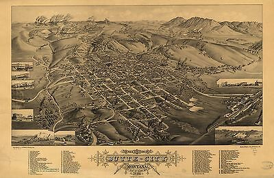 12x18 inch Reprint of American Cities Towns States Map Butte Silver Bow Montana
