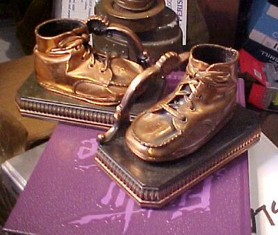 Vintage 1930's Solid Brass Copper Plated Bronze Tone Baby Shoe Book Ends