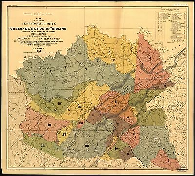 12x18 inch Reprint of American Cities Towns Map Cherokee Indian Territorial