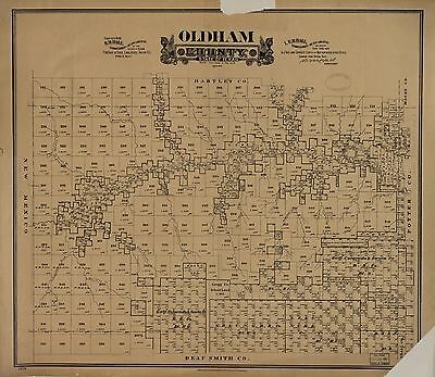 12x18 inch Reprint of American Cities Towns States Map Oldham County Texas