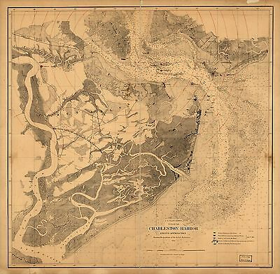12x18 inch Reprint of Shipping Coast & Seas Map Charleston Harbor South Carolina
