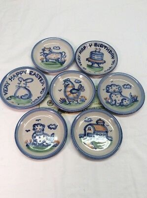 M A Hadley Mini Miniature Plate Lot Barn Rooster Cow Dog Birthday Easter Bunny