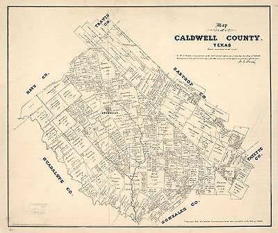 12x18 inch Reprint of American Cities Towns States Map Caldwell County Texas