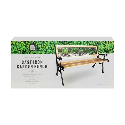 New 3 Seater Outdoor Home Wooden Garden Bench with Cast Iron Legs Seat Furniture