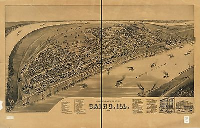 12x18 inch Reprint of American Cities Towns States Map Cairo Illinois