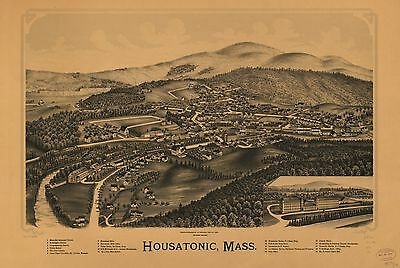 12x18 inch Reprint of American Cities Towns States Map Housatonic Mass