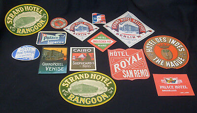 Lot 14 Antique Original Hotel Luggage Labels Travel